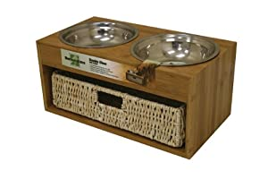 Our Pets Bamboo Bistro Double Dog Feeder with Basket