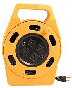 Woods 2801 Power Caddy Plus Extension Cord Reel, 25-Ft