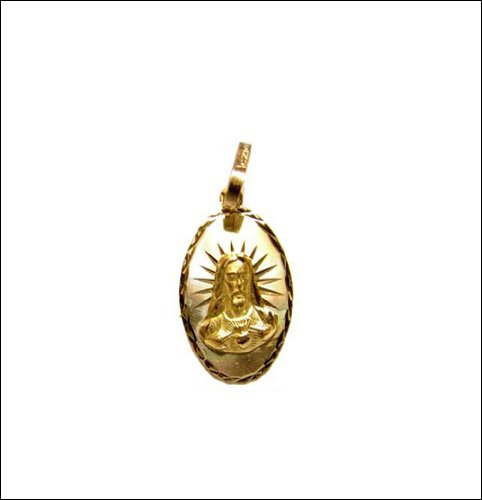14k Yellow Gold, Jesus Christ Sacred Heart Religious Pendant Charm 13mm Wide