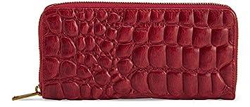 Damen Brieftasche Echt Nappaleder Geldbörse Vintage Unsed` Look dunkelrot TOP