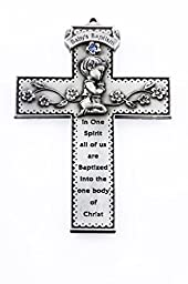 Baby\'s Baptism Pewter Wall Cross with Blue Stone and Praying Boy, 5 Inch