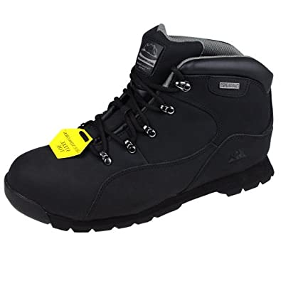MENS GROUNDWORK GR66 SAFETY STEEL TOE HIKING WORK SHOE TRAINERS BOOTS (7, BLACK)