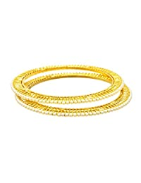 JFL - Glittering Pearl Designer One Gram Gold Plated Bangle For Women.