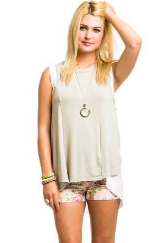 Contrasting Sleeveless Top in Olive