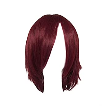 Dream2reality Cosplay_D.gray-man_Lavi Exorcist_bottom curl_40cm_dark red_Japanese high temperature resistant fiber wigs
