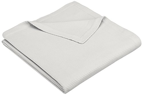 Pinzon Brushed Cotton Waffle Blanket - Full/Queen, Soft Grey (Amazon Blankets compare prices)