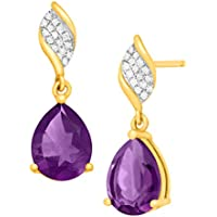 Finecraft 3 1/8 ct Amethyst Drop Earrings with Diamonds (10K Gold)