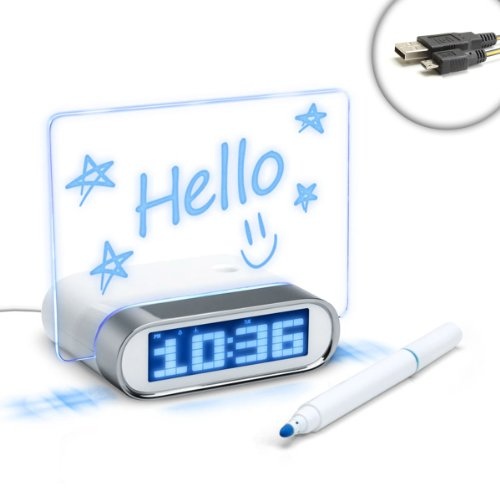 ENHANCE 4 Port USB 2.0 Hub & Glowing Memo Board Alarm Clock with Blue LED Time/Date/Temp Display for Samsung Galaxy S4 , S3 , S3 Mini , S2 , Note 2 , ATIV Odyssey , Victory 4G LTE , Stratosphere II & More - Includes Micro USB Cable