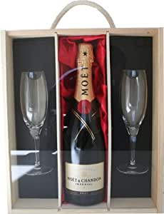 Moet and Chandon Champagne With 2 Sensation Flutes in Wooden Box 75 cl