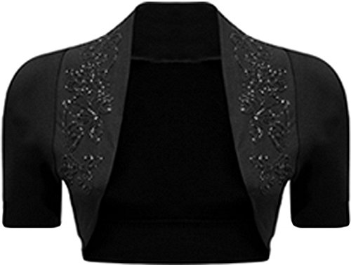 Womens Beaded Short Sleeve Shrug Sequin Detail Bolero Crop Cardigan Top (L, Black)