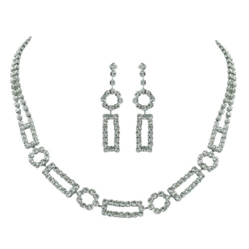 Brass Rhodium 15 inches + 3 Inches extensions Necklace Earrings Colorless Crystal DBL Strand and Open Rectangular Circle Links