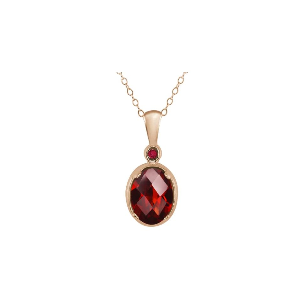 1.41 Ct Checkerboard Red Garnet Gold Plated Sterling Silver Pendant