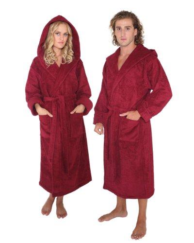 Women's and Men's Hooded Mid-Calf Length Bathrobe [Style Robe'n Hood] - 100% Cotton, Burgundy, Medium