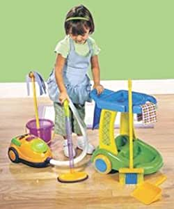 Kids Pretend Play Cleaning Trolley Set - Sweeper/Vacuum + Cleaning Supplies (All pretend play toys)