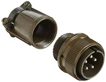 Amphenol Industrial MS3106E18-11P Circular Connector Pin, Environmental Resisting, Threaded Coupling, Solder Termination, Straight Plug, 18-11 Insert Arrangement, 18 Shell Size, 5 Contacts
