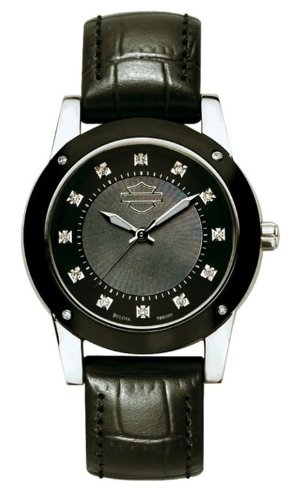 Harley-Davidson® Women's Bulova Wrist Watch. 16 Diamonds. Mother-of-Pearl dial. 78R100
