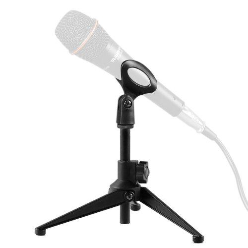 Okeba Foldable Microphone Desk Desktop Table-Top Mic Tripod Stand-Black