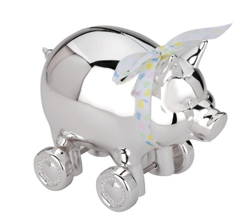 Reed & Barton Silver Plate Piggy Bank on Wheels - 1