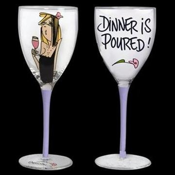 Dinner is Poured! Party Girl Wine Glass