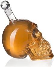VENKON - Glaskaraffe im Totenkopf Design Schädel Karaffe - 500 ml - Transparent - für alkoholische ( Wodka, Liköre, Punsch, Bier, Cocktails etc.) oder alkoholfreie Getränke