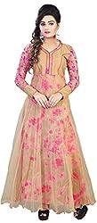 Krish Art Women's Net Semi-stitched Gown (KA-2002_FreeSize_Multi-Coloured)