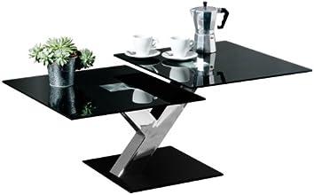 Premier Housewares Table basse 2 parties Plateau en verre noir Pieds chromés 40 x 100 x 60 cm