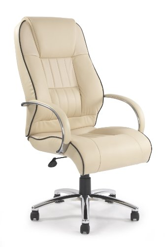 Eliza Tinsley 9211ATG/LCM High Back Leather Faced Executive Armchair with Contrasting Piping and Chrome Base