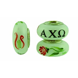 Alpha Chi Omega Sorority Hand Painted Fenton Glass Bead