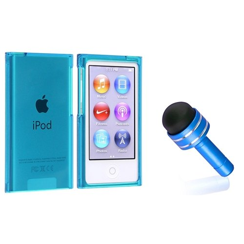 Everydaysource® Compatible With Apple® Ipod Nano® 7Th Generation Clear Blue Slim Snap-On Case + Light Blue 3.5Mm Headset Dust Cap With Mini Stylus