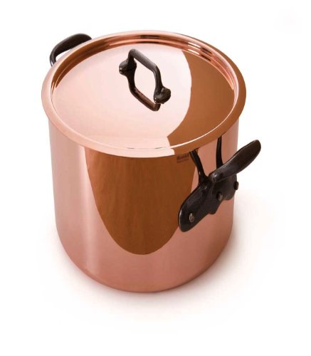 Mauviel M'Heritage Copper 150C 6432.25 11.7-Quart Stock Pot With Tin Interior And Lid Tin90 Int With Cast Iron Handle