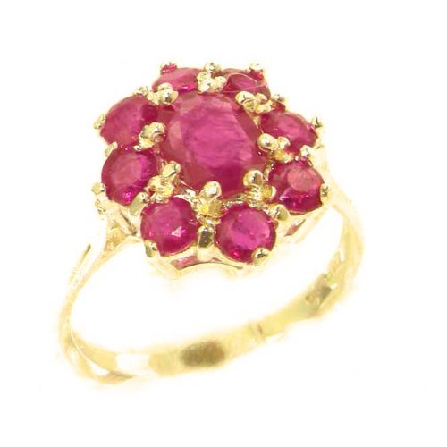 Luxury Ladies Solid 14K Yellow Gold Genuine Natural Ruby Cluster Ring - Size 9.25 - Finger Sizes 5 to 12 Available - Perfect Gift for Birthday, Christmas, Valentines Day, Mothers Day, Mom, Mother, Grandmother, Daughter, Graduation, Bridesmaid.