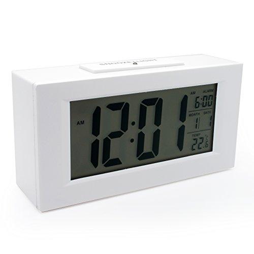 Jcc Sensor Intelligent Backlight Large Lcd Digital Alarm Clock Theremometer Calendar Bedside Desk Alarm Clock (White) front-105579