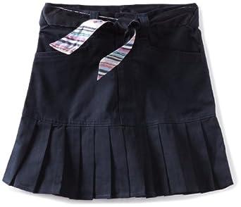 U.S. Polo Association School Uniform Big Girls'  Print Belt Twill Scooter Skirt, Navy, 7