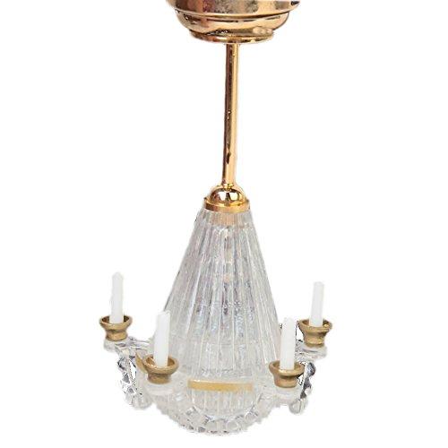TOOGOO(R) 1:12 Casa delle bambole in miniatura cinque candele false lampadario trasparente LED d'Oro