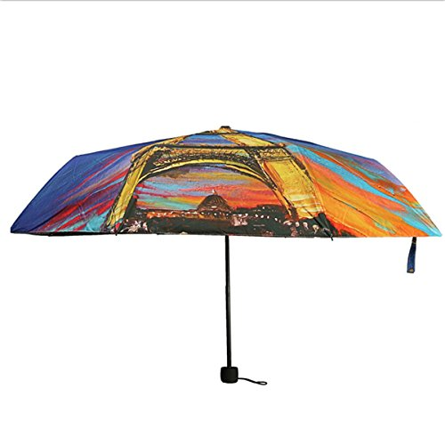 eiffel tower anti uv 3 fold oil painting sun rain parasol bumbershoot umbrella home garden. Black Bedroom Furniture Sets. Home Design Ideas
