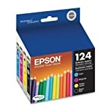 Genuine Epson 124 T124 Ink Catrideges Includes T124120 T124220 T124320 T124420 -1 Black/1 Cyan/1 Magenta/1 Yellow