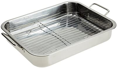 "Stainless Steel Heavy Duty 16"" Lasagna / Roasting Pan with Rack"