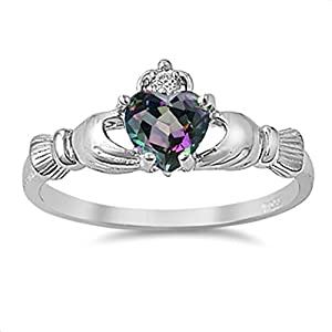 Irish Claddagh Rainbow Colored Cz Heart Ring Size 10