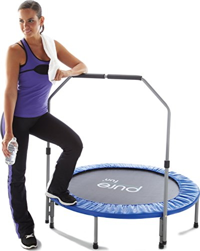"""Pure Fitness 48"""" Mini Rebounder Trampoline with Adjustable Handrail, Ages 13+"""