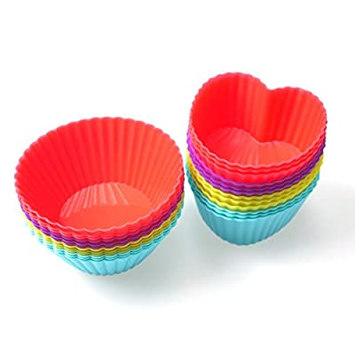 Chefaith(TM) 24-pcs Reusable Silicone Baking Cups, Cupcake Liners (12 Heart-Shaped & 12 Round Cups, Each with 4 Colors) - Non-Stick, Heat Resistant (Up to 480°F) Ultra Durable Baking Molds, Food Grade