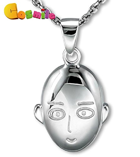One Punch Man Saitama Anime Necklace 925 Silver 0.76 In. b2 (Silver Chain)