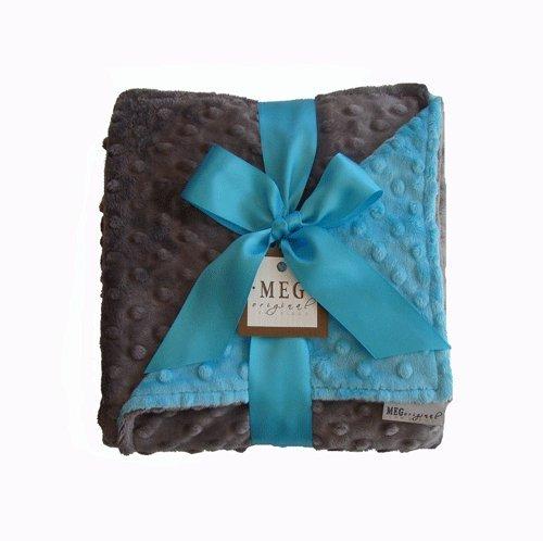 MEG Original Minky Dot Baby Blanket Turquoise/Charcoal - 1