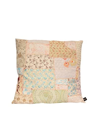 Uptown Down Vintage One-of-a-Kind Patchwork Throw Pillow, Crème