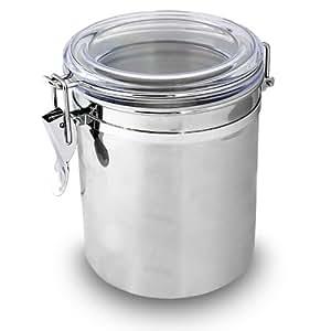 Aromadose Vorratsdose Kaffeedose Teedose aus Edelstahl mit Bügelverschluss und transparenten Deckel