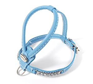 Petego La Cinopelca Soft Calfskin Teacup Dog Harness with Crystals, Tiffany Blue, XS