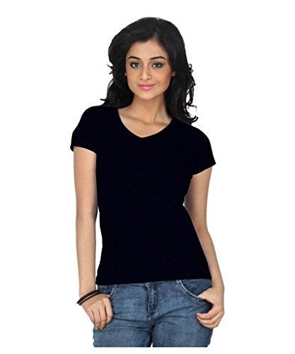 TeesTadka Women's Cotton T-Shirt (CMBFVL36_M_Medium_Black)