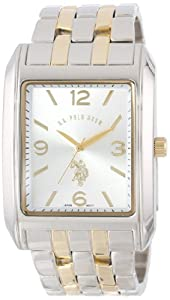 U.S. Polo Assn. Classic Men's USC80019 Two-Tone Rectangular Silver Dial Bracelet Watch