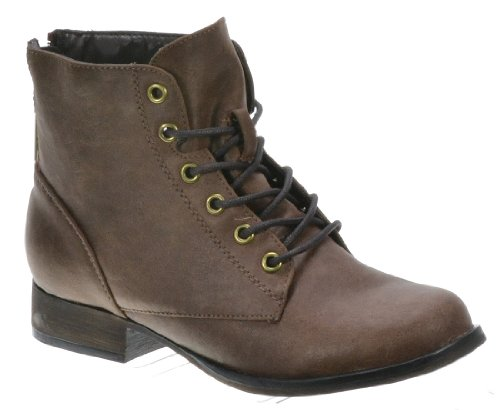 Breckelles Women's Georgia-43 Faux Leather Ankle High Lace Up Combat Boots