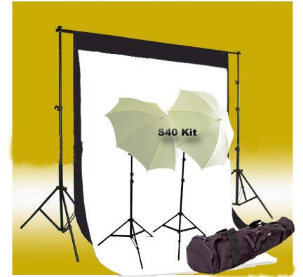 CowboyStudio Photography and Video Continuous Light kit, 5 X 10ft Black & White Muslin Backdrops with Backdrop Support System and Carry Case