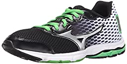 Mizuno Wave Rider 18 Junior Kids Running Shoe (Little Kid/Big Kid), Black/Classic Green, 3 M US Little Kid